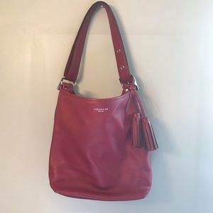 Coach legacy tassel Crossbody bag red leather